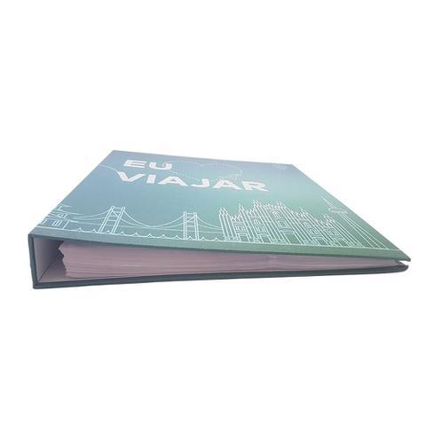 Imagem de Kit Álbum Mega 500 fotos 10x15 Amo Viajar + Refil de folhas Ical