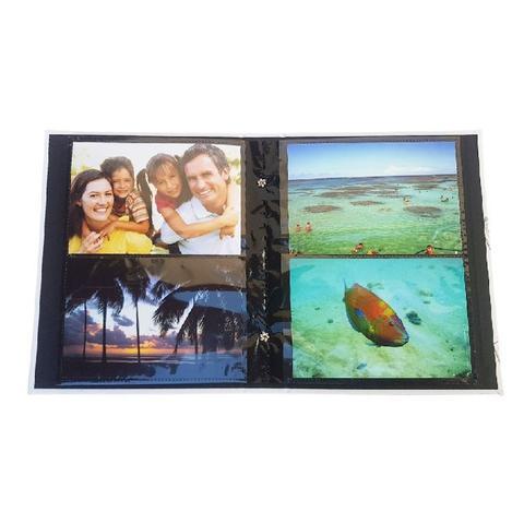 Imagem de Kit álbuns folhas preta 160 fotos unicórnio sereia 10x15