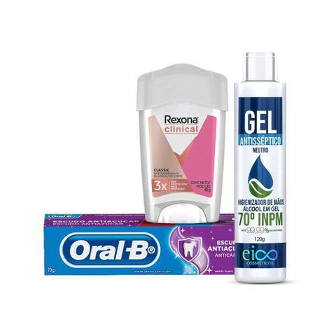 Imagem de Kit Alcool em Gel + Desodorante Rexona Clinical + Creme dental