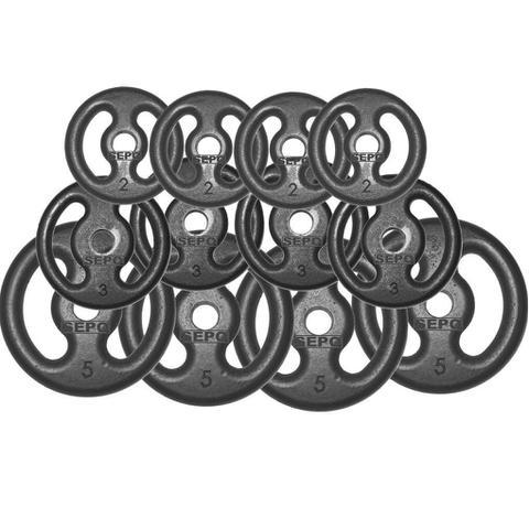 Imagem de Kit Anilhas Ferro Fundido 40 Kg + Barras com Presilhas