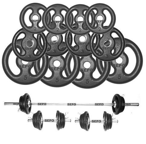 Imagem de Kit Anilhas Ferro Fundido 40Kg + 2 Barras de 40cm + Barra de 150cm