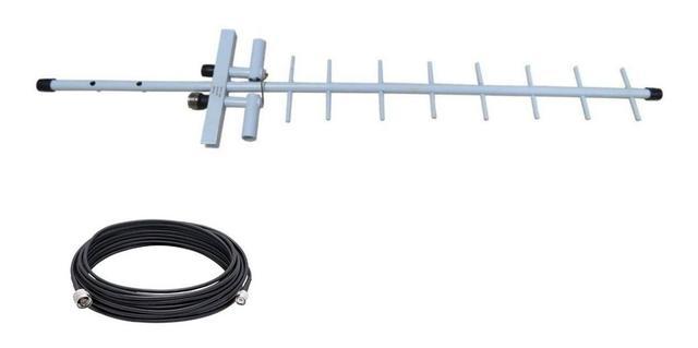 Imagem de Kit antena 15dbi + cabo 10 metros + adaptador universal