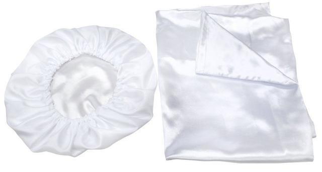 Imagem de Kit Anti-Frizz com Touca e Fronha de Cetim Branco - Santa Clara