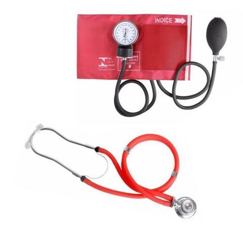 Imagem de Kit Aparelho de Pressão Esfigmomanômetro + Esteto Rappaport Premium - Vermelho