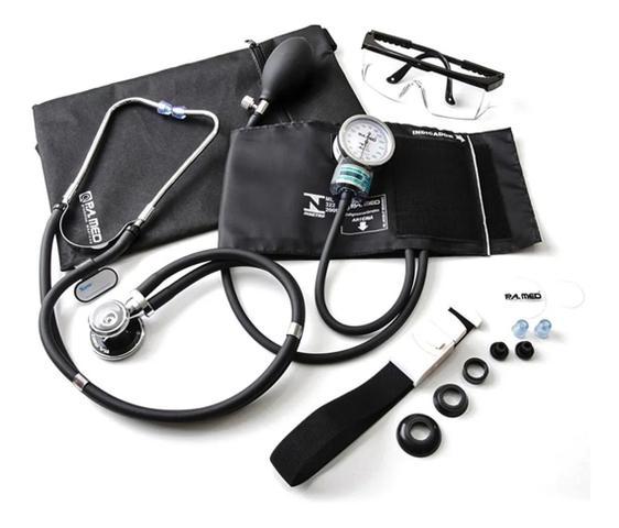 Imagem de Kit Aparelho De Pressão Manual + Estetoscópio Duplo + Garrote + Oculos + Bolsa Multiuso