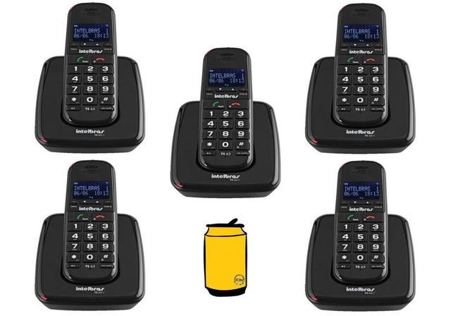 Imagem de Kit Aparelho Telefone Fixo Mesa sem fio Com 4 Ramal ID Bina
