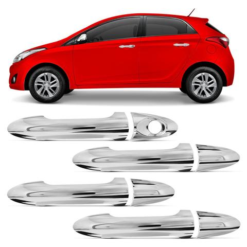 Imagem de Kit Apliques Cromados Maçaneta Hyundai HB20 HB20S 2012 a 2019 4 Portas Acabamento Perfeito