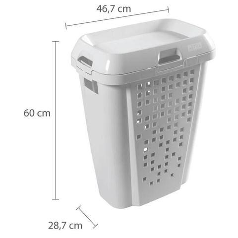 Imagem de Kit Assento Sanitário Almofadado TPK Branco + Cesto De Roupa ou Organizadora Brinquedos Branca