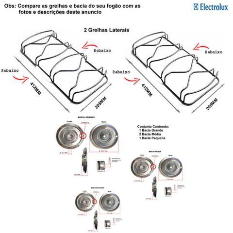 Imagem de Kit bacias + grelhas para fogões electrolux 4 bocas 50 ss