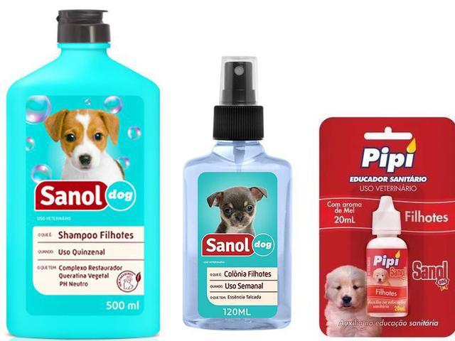 Imagem de Kit Banho Filhotes + Atrativo Canino: Shampoo Para Cães Filhotes +  Colônia Filhotes + Educador Atrativo Pipi sim Sanol