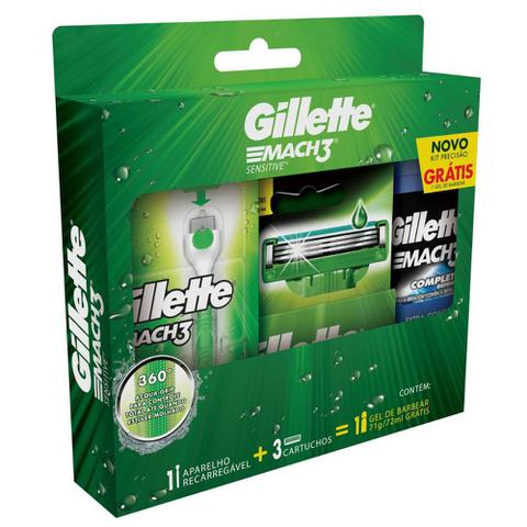 Imagem de Kit Barbear Gillette Mach3 Acqua Grip Sensitive 2 Un + Gel de Barbear Complete Defense 72mL
