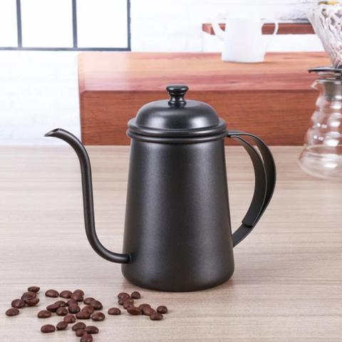 Imagem de Kit Barista Profissional Bule Preto E Passador Para Café