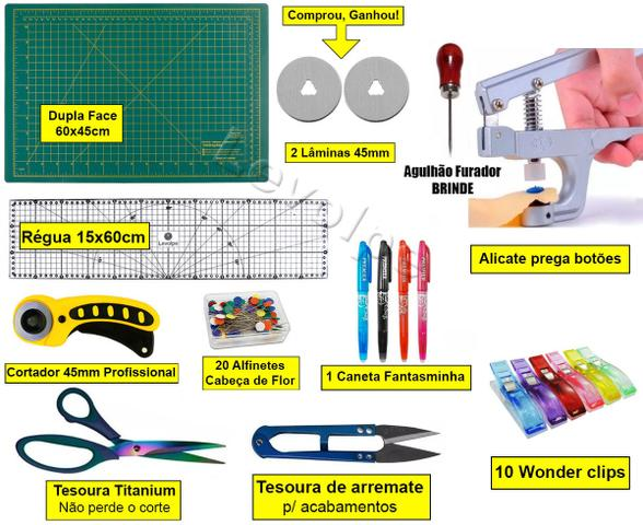 Imagem de Kit Base De Corte 60x45 +régua 60 + Cortardor 45mm + Tesoura