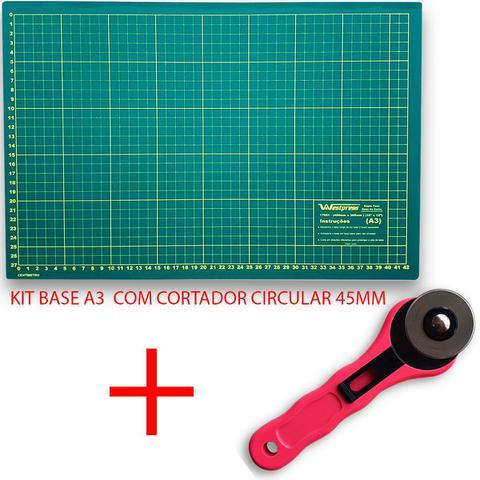 Imagem de Kit base de corte A3 + Cortador Circular ROSA LANMAX