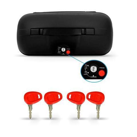 Imagem de Kit Baú Givi Moto 21l + Capacete Branco Com Vermelho