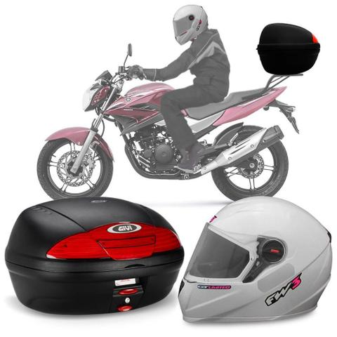 Imagem de Kit Baú Givi Moto 45l + Capacete Branco Com Rosa