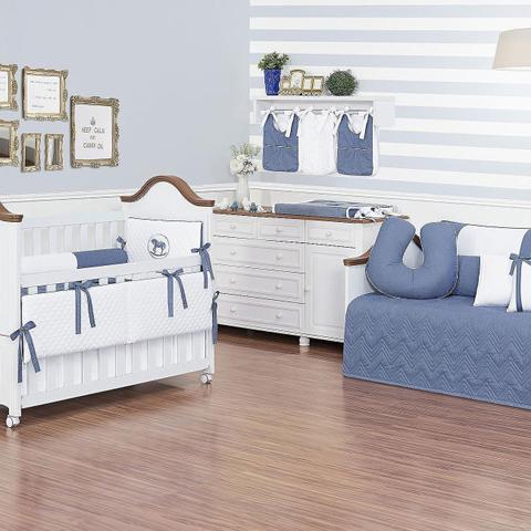 Imagem de Kit Berço 7 Peças Percal 300 Fios Dupla Face Bordado Branco e Azul Jeans Coleção Cavalinho