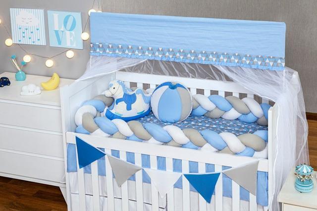Imagem de Kit Berço Americano 9 peças Trança Cavalinho Azul