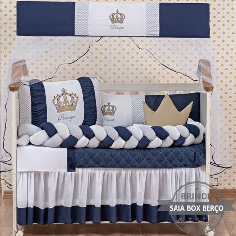 Imagem de Kit Berço Americano Coroa Principe Marinho Menino 12 peças com Saia berço Brinde almofada