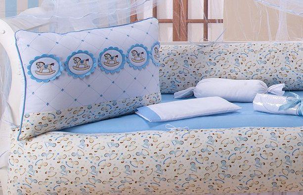 Imagem de Kit Berço Americano/Nacional  Menino Cavalinho Azul 100 Algodão- 10 Peças