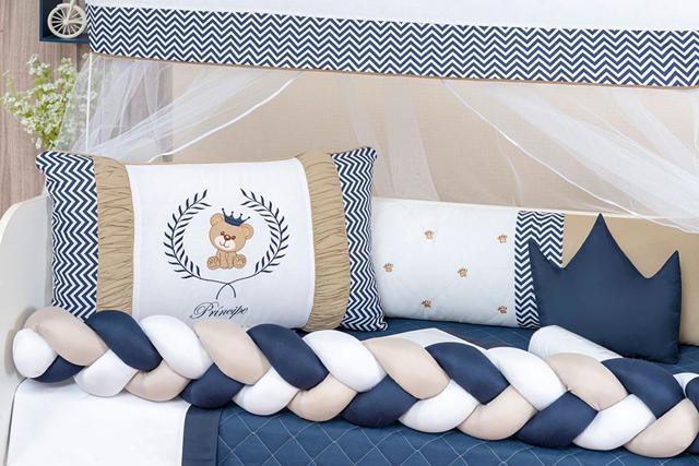 Imagem de Kit Berço Trança Completo Americano Urso Teddy Azul Marinho Menino 11 peças com saia
