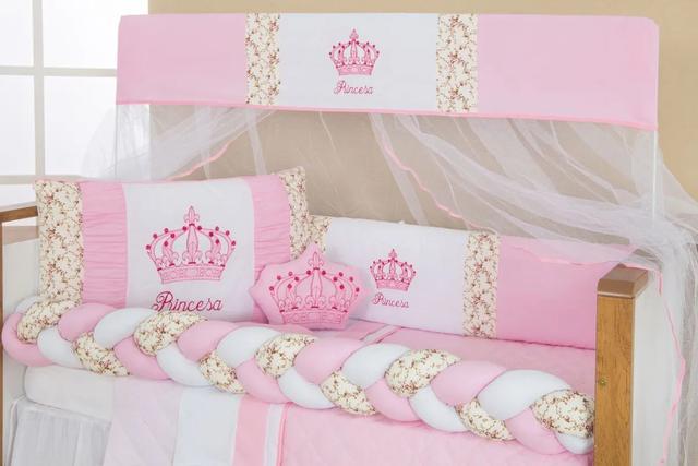 Imagem de Kit Berço Trança Imperial Pincesa Rosa Floral 10pçs