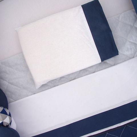Imagem de Kit Berço Trança Menino Ursinho Azul Marinho 10 Pç