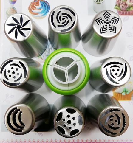 Imagem de Kit bico russo 10 peças confeitar Aço inox e 5 bicos folha