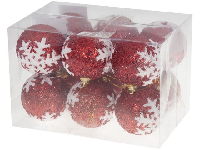 Imagem de Kit Bola de Natal Vermelha e Branca com Glitter