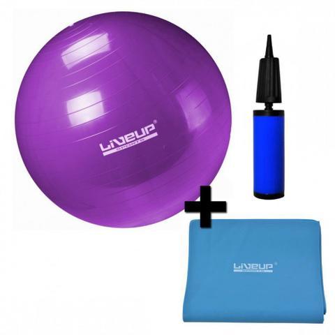Imagem de Kit Bola Suica 55cm com Mini Bomba + Faixa Elastica Tensao Forte Azul Liveup
