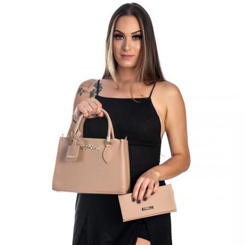 Imagem de Kit Bolsa Handbag D'Flora + Carteira Feminina Alça Removivel