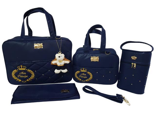 Imagem de kit bolsa mala de bebe para maternidade azul