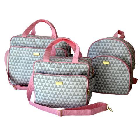 Imagem de kit Bolsa Mala Maternidade menino 3 peças com mochila Rosa
