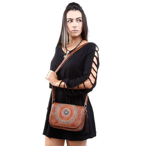 Imagem de Kit Bolsa Mandala + Bota Feminina cano curto ziper lateral - Marrom