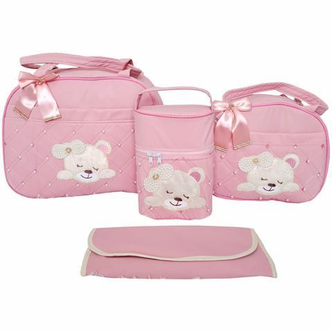 Imagem de Kit Bolsa Maternidade 4pcs Urso + Saída Rosa vestido Menina