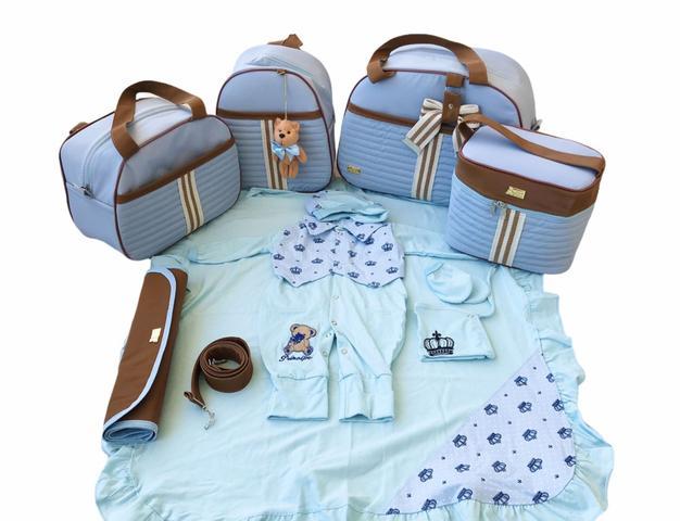 Imagem de Kit Bolsa Maternidade 5 Peças Completo Frasqueira Térmica Azul Bebê