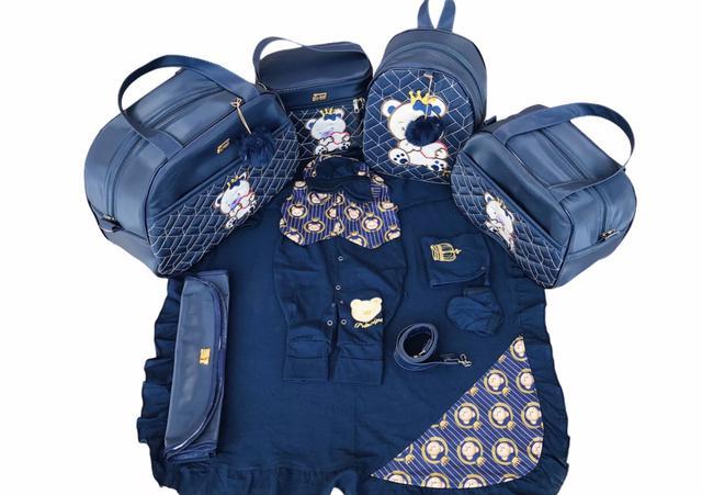 Imagem de Kit Bolsa Maternidade 5 Peças Completo Urso Coração Térmica Com Saída Maternidade Azul Marinho