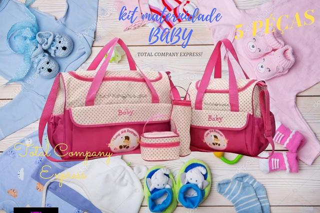Imagem de Kit Bolsa Maternidade Bebê Menina Rosa 5 Péças