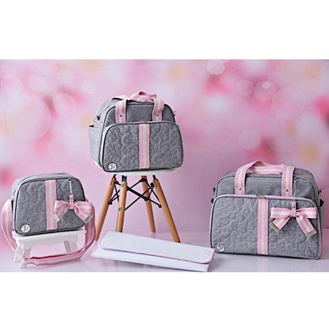 Imagem de Kit Bolsa Maternidade Cinza Com Rosa IB Luxo