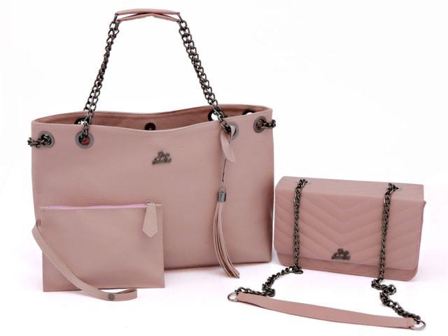Imagem de kit bolsa sacola corrente + bolsa de festa livia sabatini a pronta entrega