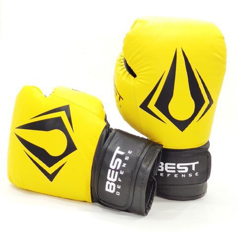 Imagem de Kit Boxe Muay Thai Luva 12oz + Protetor Bucal + Bandagem 3m - Amarelo