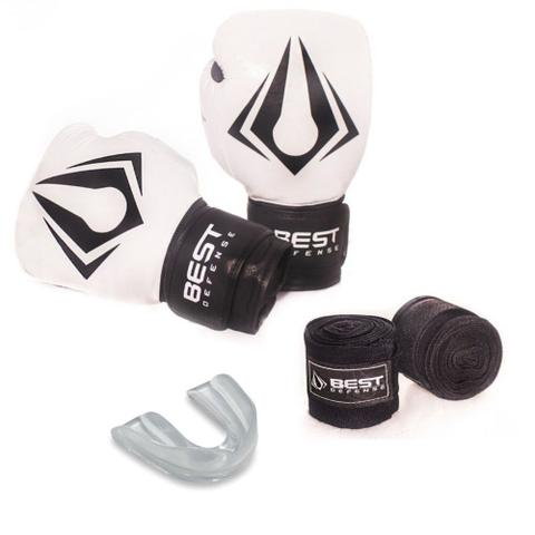 Imagem de Kit Boxe Muay Thai Luva 16oz + Protetor Bucal + Bandagem 3m - Branco