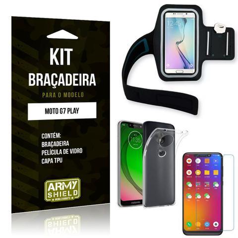 Imagem de Kit Braçadeira Motorola Moto G7 Play Braçadeira + Capa + Película de Vidro - Armyshield