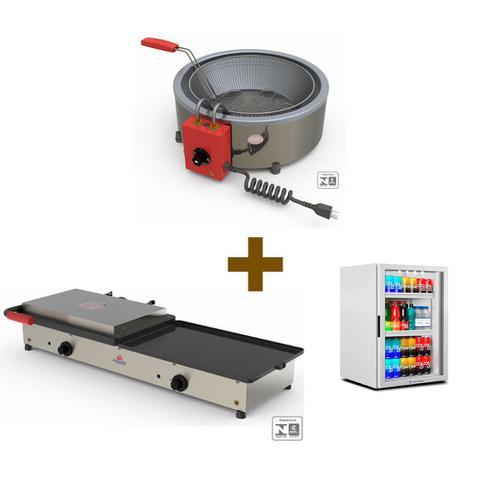 Imagem de Kit Burger Elétrico - Prensa e Chapa Pr950e + Fritadeira Pr70el + Refrigerador Vb11 - 220v