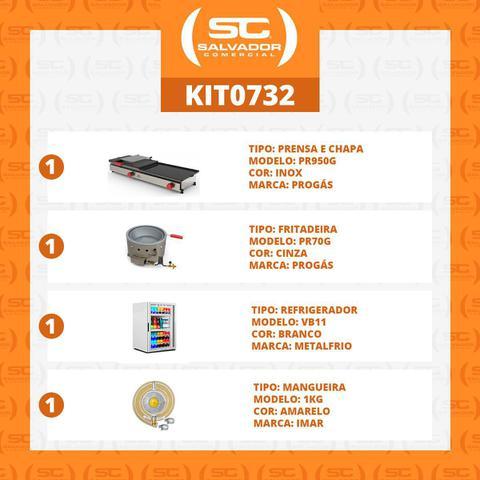 Imagem de Kit Burger Gás - Prensa e Chapa Pr950g + Kit Gás + Fritadeira Pr70g + Refrigerador Vb11 - 127v