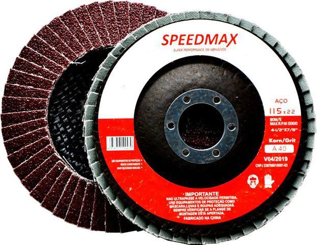 Imagem de KIT C/10 PEÇAS Disco De Lixa Flap 4.1/2 GR-40 Speedmax P/ Esmerilhadeira