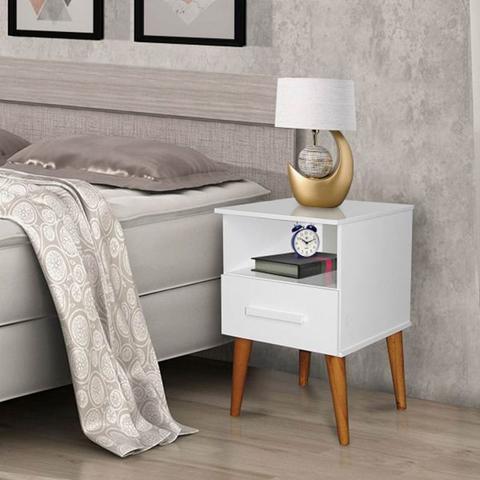 Imagem de Kit C/2 Mesa de Cabeceira Pérola Branco  Romar Móveis