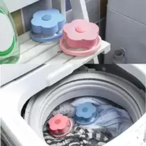 Imagem de Kit c/2 pçs filtro flutuante maquina de lavar papa bolinhas tira pelo