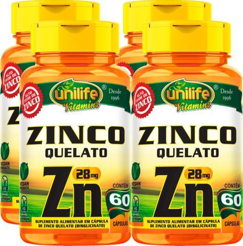 Imagem de Kit C/ 4 Un. Zinco Quelato Zn 600mg 240 Vegan Caps Unilife