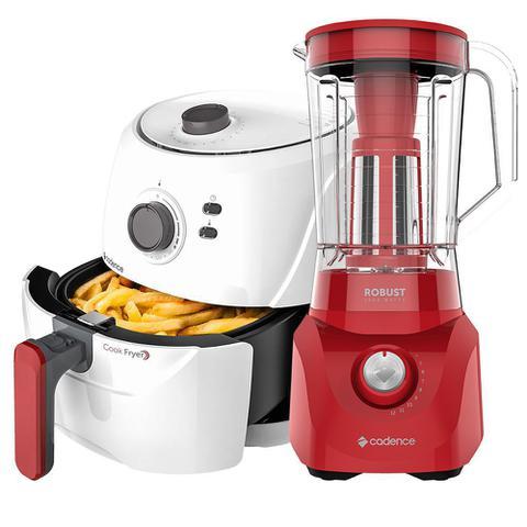 Imagem de Kit Cadence Red White - Fritadeira Sem Óleo e Liquidificador Robust